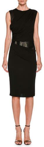 Giorgio Armani Sleeveless Side-Ruched Sheath Jersey Dress w/ Leather Panel