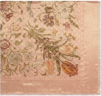 Gucci GG wool and lurex shawl with Flora print