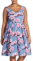City Chic Plus Size Women's 'Powder Posey' Floral Print V-Neck Fit & Flare Dress