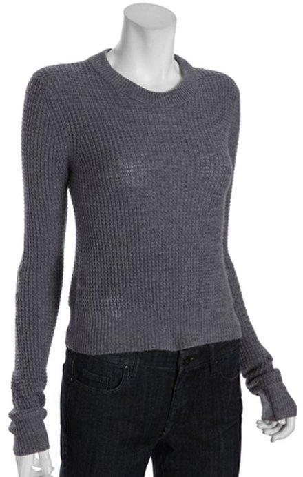 BCBGMAXAZRIA heather grey stretch wool-cashmere blend 'Sage' waffle sweater