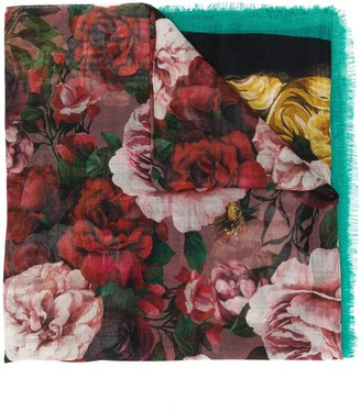 Dolce & Gabbana Rose-Print Lightweight Scarf