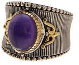 Konstantino Erato Sterling Silver & 18K Gold Framed Oval Amethyst Ring - Size 9