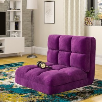 Mercury Row Micro-Suede 5-Position Adjustable Convertible Flip Floor Game Chair Color: Purple