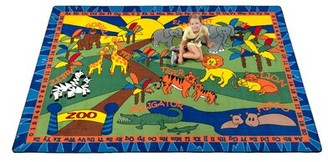 Kid Carpet Animals at the Zoo Green Rug Rug Size: Rectangle 4' x 6'