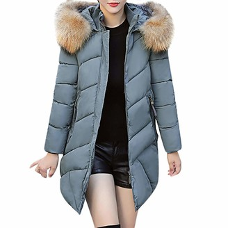 Lazzboy Womens Coat Jacket Puffer Long Quilted Faux Fur Hooded Warm UK 6-14(XL(10)