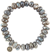 Sydney Evan Jewelry 10mm Mystic Labradorite Beaded Bracelet with 14k Gold/Diamond Round Evil Eye Charm (Made to Order)