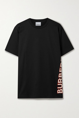 Burberry Oversized Appliqued Cotton-jersey T-shirt - Black