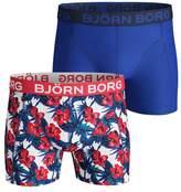 Mens Bjorn Borg Blue Floral Trunks Two Pack - White