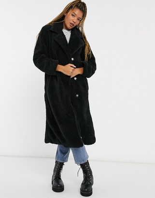 Brave Soul tasmin teddy coat in black