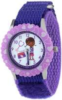 """Disney Kids' W000909 """"Doc McStuffins Time Teacher"""" Stainless Steel Watch with Purple Nylon Band"""