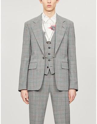 Vivienne Westwood Checked chain-embellished padded-shoulder wool blazer
