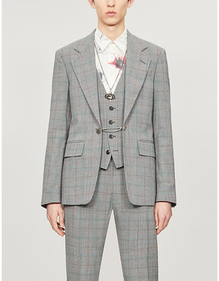 Vivienne Westwood Checked chain-embellished padded-shoulder wool blazer
