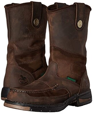 Georgia Boot Athens Moc Toe/Steel Toe Wellington Boot (Brown) Men's Work Boots