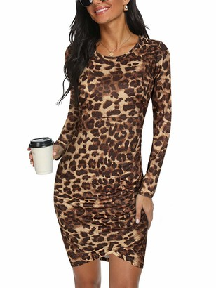 Moyabo Summer Dresses for Women Camouflage Print Long Sleeve Crew Neck Ruched Bodycon Tunic Dress Army Green Large