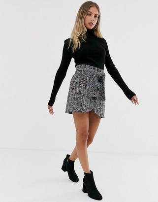 Asos Design DESIGN boucle wrap mini skirt with buttons and tie waist-Multi