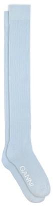Ganni Logo-print Cotton-blend Over-the-knee Socks - Light Blue