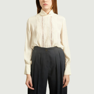 See by Chloe Ecru Crepe Blouse with Lace Collar - 36