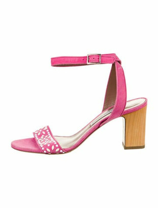 Tabitha Simmons Suede Embellished Sandals Pink