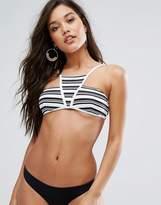 MinkPink Stripes High Neck Bikini Top
