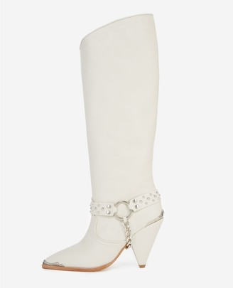 The Kooples Heeled ecru boots, leather w/removable jewel