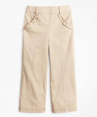 Brooks Brothers Girls Cotton Blend High Rise Ruffle Pants