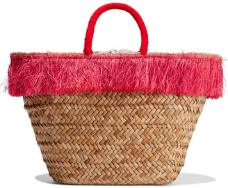 Kayu Fallyn Fringe-trimmed Woven Straw Tote