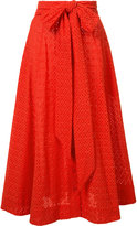 Lisa Marie Fernandez bow detail pleated skirt - women - Cotton - I