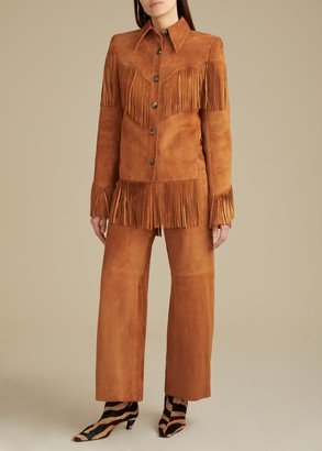 KHAITE The Charlize Pant in Chestnut Suede