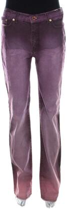 Roberto Cavalli Purple Denim Snake Print Straight Fit Jeans S