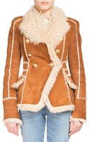 Balmain Shearling Fur Double-Breasted Coat