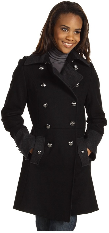 Nautica Double Breasted Colorblock Military Wool Coat (Black/Charcoal) - Apparel