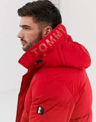 Tommy Hilfiger stretch nylon hooded bomber jacket in red