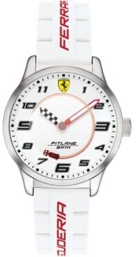 Ferrari Kid's Pitlane White Silicone Strap Watch 34mm