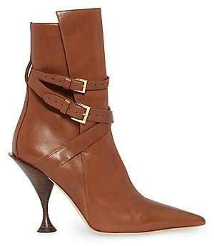 Burberry Women's Hadfield Strap Detail Leather Ankle Boots
