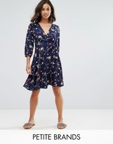 Yumi Petite Wrap Front Dress In Floral Print