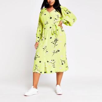 River Island Womens Plus Green long sleeve printed midi dress