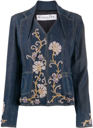 Christian Dior Pre-Owned Flower Embroidered Denim Jacket