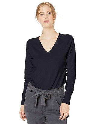Daily Ritual Amazon Brand Women's Fine Gauge Stretch V-Neck Long-Sleeve Pullover Sweater