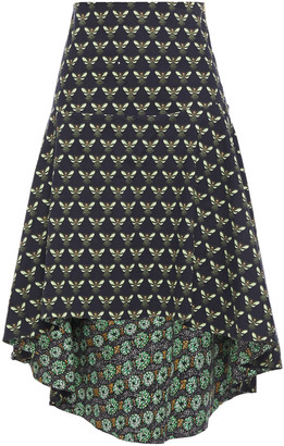 Isolda Asymmetric Printed Cotton-blend Skirt