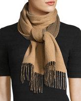 Neiman Marcus Cashmere Herringbone Fringe Scarf, Camel/Dark Brown