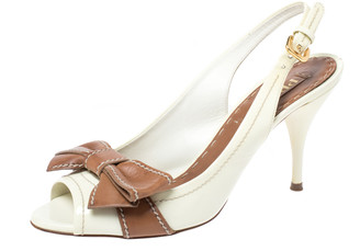 Prada Cream/Brown Leather Bow Slingback Sandals Size 37