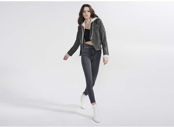 Alice + Olivia Avril Hood Combo Sweatshirt Leather Jacket