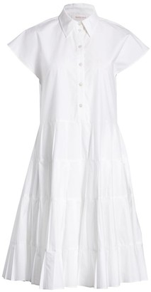 See by Chloe Cap-Sleeve Tiered A-Line Shirtdress