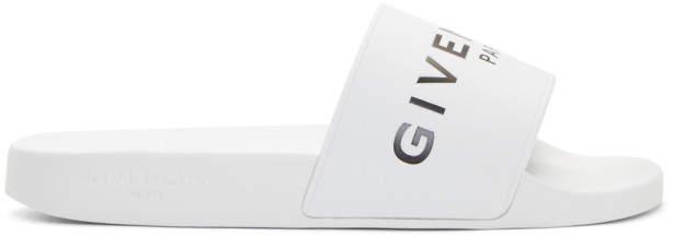 Givenchy White Logo Pool Slides