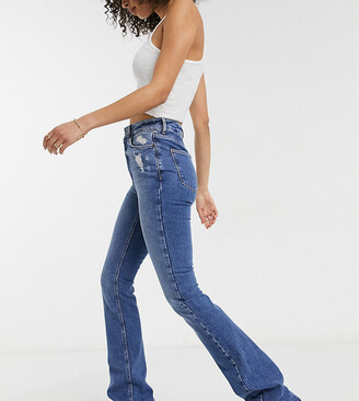 New Look Tall flared jeans in mid blue