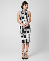Le Château Geo Print Mock Neck Shift Dress