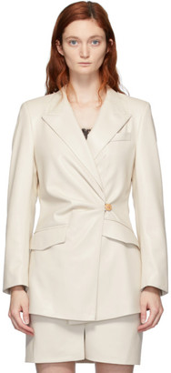 Nanushka White Vegan Leather Blair Hourglass Blazer