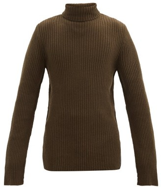 Ann Demeulemeester Oversized Roll-neck Ribbed Wool Sweater - Brown