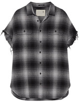 R 13 Oversized Frayed Checked Cotton And Silk-blend Shirt - Gray