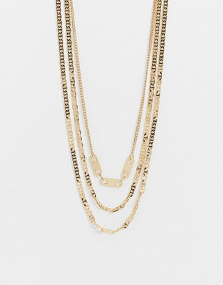 Pieces multi chain necklace in gold